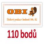 Poukaz na nákup v prodejnách OBI v hodnotě 300 Kč