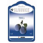 Tvarovaná etiketa se stříbrotiskem na slivovici