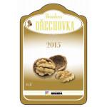 Tvarovaná etiketa se zlatotiskem na ořechovku